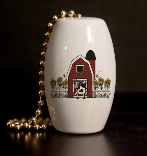 Little Country Cow Barn Porcelain Fan / Light Pull