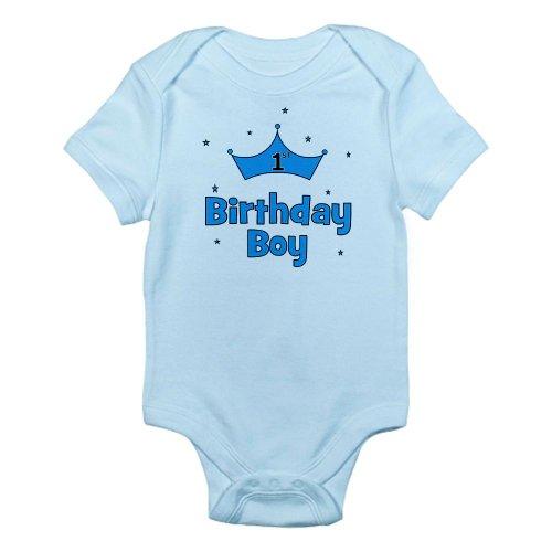 Cafepress 1St Birthday Boy Crown Infant Bodysuit - 12-18M Sky Blue front-1055580