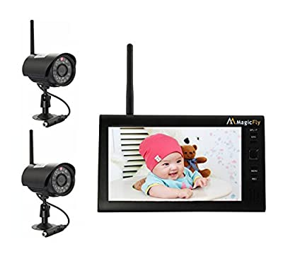 """Magicfly 7"""" LCD Wireless Home Security Surveillance Baby Monitor 4 Channel Quad Security System DVR With 2 Cameras Network Internet Night Version"""