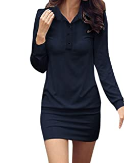 Allegra K Point Collar Button Upper Long Sleeve Mini Dress for Women
