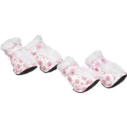 Fashion Plush Premium Fur-Comfort Pvc Waterproof Supportive Pet Shoes, Small, Pink & White