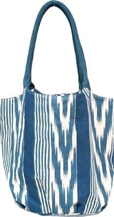 rockflowerpaper Canvas Bucket Tote Bag, Ikat Stripe Navy, One Size