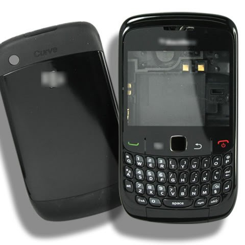 Black Original Genuine OEM BlackBerry Curve 8520 Full Housing Cover+Repair Parts Faceplate Fascia Cover+Battery Back Door+Bottom Plate Panel+Antenna Flex Cable+Connector+Trackpad Track Pad Navigation Key Button+Keyboard+Keypad Repair Replacement (Blackberry 8520 Full Housing compare prices)