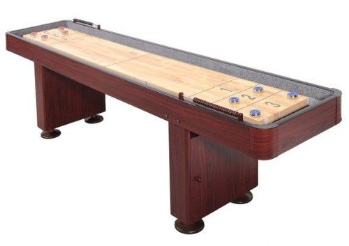 Find Discount Shuffleboard Table 12 Ft Set Hardwood Block Surface Harvil Home Game - Dark Cherry