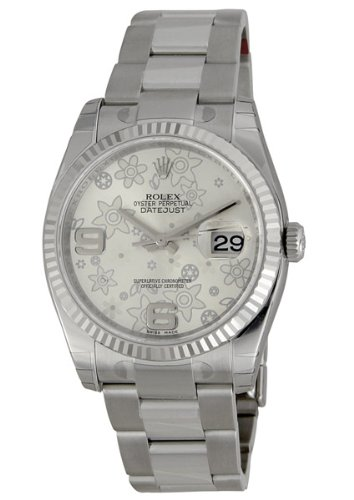 Rolex Datejust Silver Floral Arabic Dial Oyster Bracelet Fluted Bezel Mens Watch 116234SAFO