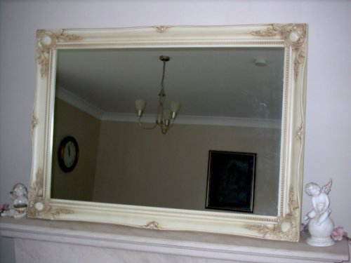 Ivory Shabby Chic Antique Style Rectangular Wall Mirror - Extra Large Size: 76cm x 107cm - ITV Show Supplier