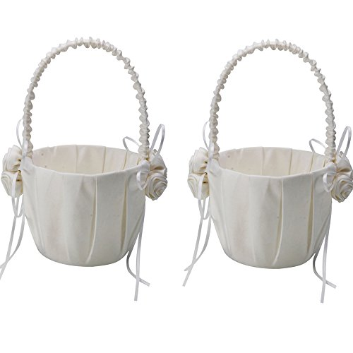 Micromall(TM) 2pcs Satin Rose Ribbon Flower Girl Basket for Wedding Party Ivory White