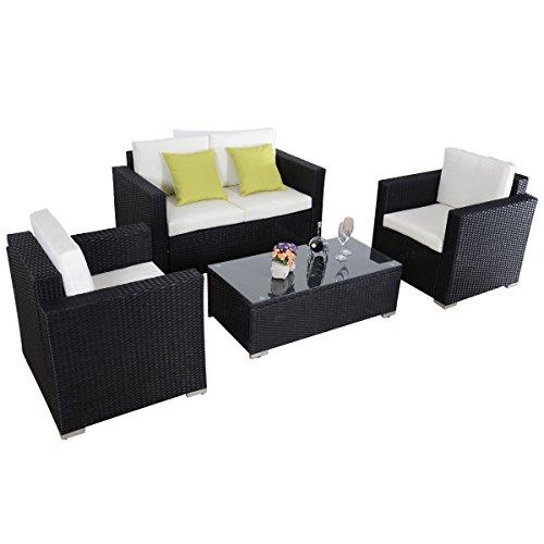 Giantex 4pc Outdoor Patio Furniture Rattan Sofa Set Wicker Sectional W/cushions (Black)