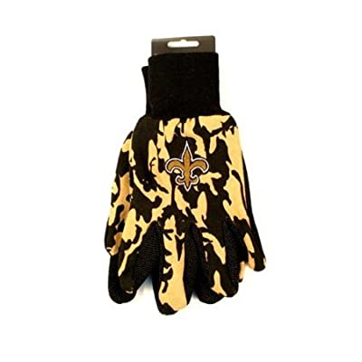 NFL Officially Licensed Team Colored Camo Work Utility Gloves (New Orleans Saints)
