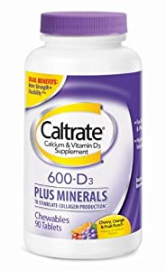 Caltrate 600+D Plus Minerals, Chewables, 90 Count (Pack of 2)