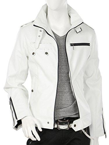 ライダースジャケット 白 メンズ フェイクレザー シングル ライダース ジャケット 907001fc ホワイト LL