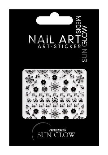 medis sun glow nagelsticker ornamente schwarz blumen floral motive v schwarz mit silber strass. Black Bedroom Furniture Sets. Home Design Ideas