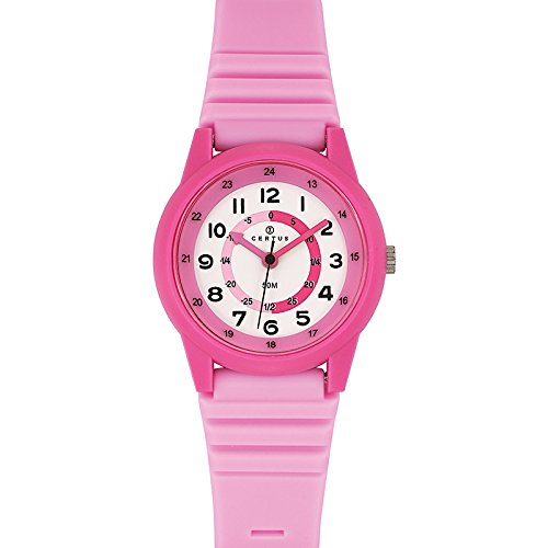 Certus 647582 - Unisex Watch - Analogue Quartz - White Dial Pink Plastic Strap