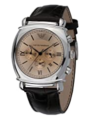 Emporio Armani Quartz, Champagne Gold Dial with Brown Leather Strap - Men's Watch AR0286