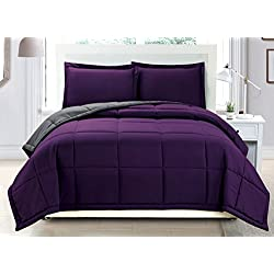 3 piece Luxury Dark Purple / Grey Reversible Goose Down Alternative Comforter set, Full / Queen with Corner Tab Duvet Insert