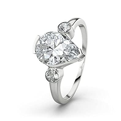 21DIAMONDS Daniela White Topaz Brilliant Cut Women's Ring - Silver Engagement Ring