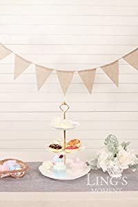 Ling's moment Vintage Bunting Banner, DIY Pre-strung Burlap Bunting Banner for Wedding, Birthday and Party Decoration, 4.3 yd / 4 m, 15pcs flags by ling's moment