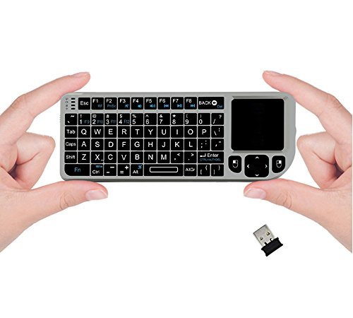 FAVI FE01 2.4GHz Wireless USB Mini Keyboard w Mouse Touchpad, Laser Pointer - US Version (Includes Warranty) - Silver (FE01-SL) (Mobile Keyboard Touchpad compare prices)