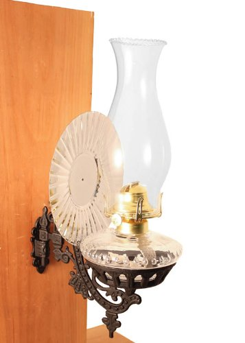 Victorian Oil Lamp - Clear W/Reflector Wall Mount - Vintage Hurricane Lamps