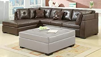 Sectional Sofa with Left-Side Chaise in Brown Leatherette MPN: 500686