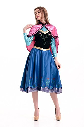 Adult 6-piece Princess Anna Dress Costume - Halloween Cosplay