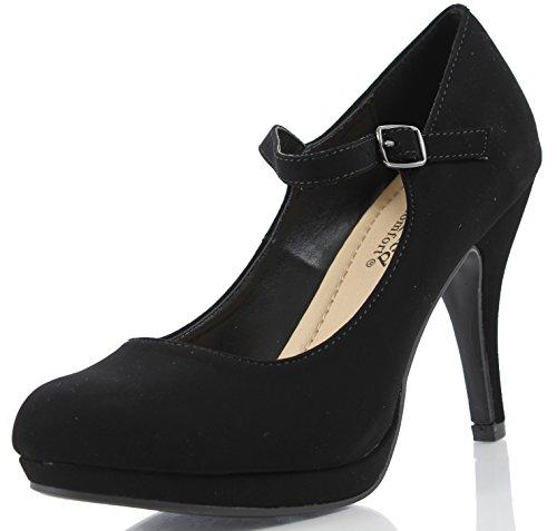 City Classified Comfort Women's Dennis Mary Jane High Heel, Black, 75 M US