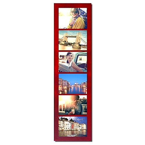 Adeco Decorative Walnut Color Wood Wall Hanging Divided Picture Photo Frame, 6 Openings, 5x7