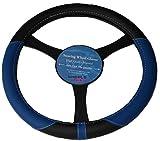 Fiat Stilo Panda Leather Look Steering Wheel Glove Cover BLUE KA1325