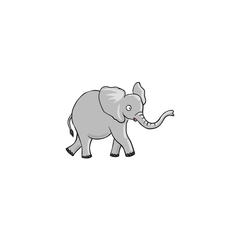 2 wide Elephant with trunk up. Engineer Grade reflective printed vinyl decal sticker for any smooth surface such as windows bumpers laptops or any smooth surface.