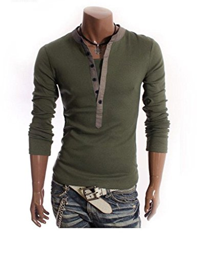 Minetom Uomini T-Shirt 2 in 1 con scollo a V Maglietta Slim Fit Manica Lunga ( Army Green IT 48 )