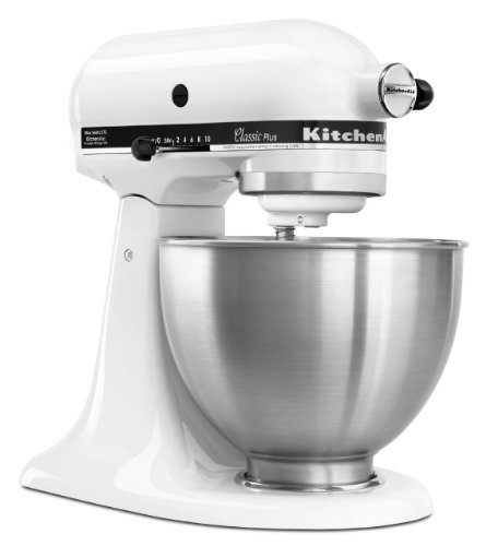 Great Deal! KitchenAid KSM75WH Classic Plus Tilt-Head 4-1/2-Quart Stand Mixer, White