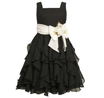 Size-10 BNJ-5218B BLACK WHITE VERTICAL CASCADE CHIFFON Special Occasion Wedding Flower Girl Pageant Party Dress,B45218 Bonnie Jean 7-16