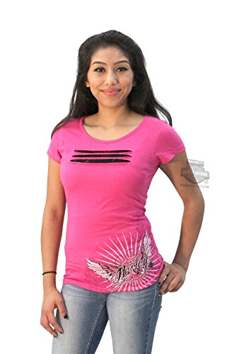 Harley-Davidson Womens Motorcycle Addict Wings Pink Shirt-Medium