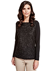 Per Una Floral Lace Knitted Top with Wool