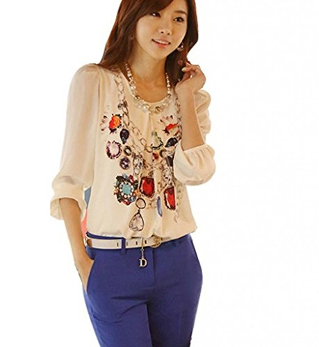 43 CITY Women's Chiffon Floral Long Sleeve Pullover Casual Tops Blouse T-Shirt