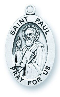 St. Paul Pendant Oval Sterling Silver with Chain