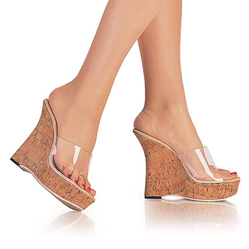 FANFAIR-501, 5'' Heel, Clear/Cork Sandals, by Pleaser USA
