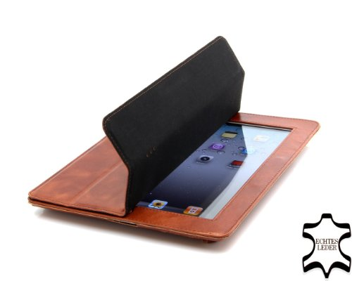 StilGut Couverture Case Cover made from Finest Leather for Apple iPad 2 with Smart-Cover Function in Cognac - Version 2
