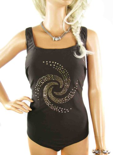 Ladies Plus Size Tummy Control Brown Swimsuit Swimming Costume with studded swirl in womens sizes 18 - 28