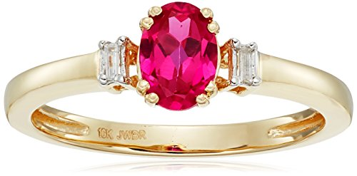 10k Yellow Gold Created Ruby Oval Shape with Baguette