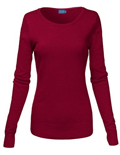 Basic Crew Neck Long Sleeve Soft Sweater Knit Tops