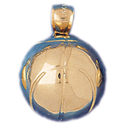14kt Yellow Gold 3-D Basketball Pendant