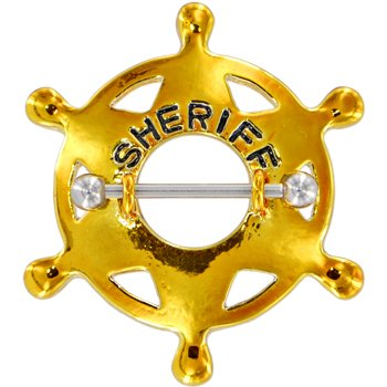 Unique Surgical Steel Yellow Sheriff Badge Nipple Shield Piercing Jewelry