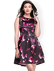 Amor Women's Polyester Dress(Amor_02_xs_Black_XSmall)