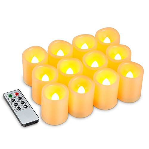 Kohree Flameless Battery Operated LED Pillar Candles Unscented Ivory Votive Remote Candles with Remote Control & Timer, Amber Yellow Flame(12 Set) (Flameless Remote Candle compare prices)