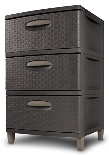 sterilite-01986p01-3-weave-drawer-unit-espresso-with-driftwood-handles-and-legs-1-pack
