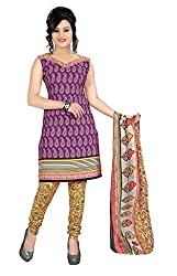 Craftliva Purple & Yellow Printed Crepe Dress Material