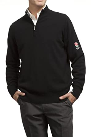 Mens England Rugby 100% Lambswool Plain Zip Through Sweater with Rose Embroidery by England R.U.