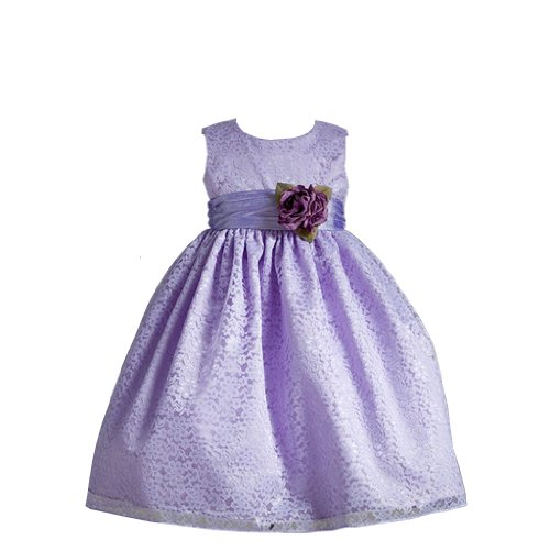 Elena Floral Embroidered Holiday Or Flower Girl Dress With Rose Sash For Girls Fancy Dress Color: Purple Fancy Dress Size: Size 9-10 front-948835