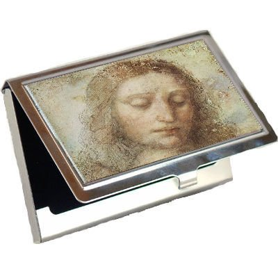 Head Of Christ By Leonardo Davinci Business Card Holder front-670705